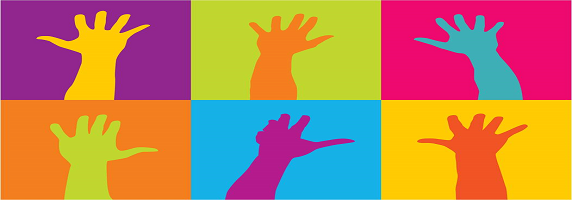 Coloured silhouette of 6 hands raised up