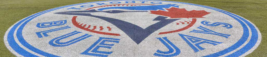 Toronto Blue Jays logo on baseball field