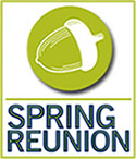 "Acorn icon with text overlay ""Spring Reunion"""