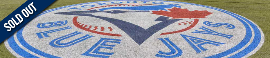 Toronto Blue Jays logo on baseball field with text overlay SOLD OUT