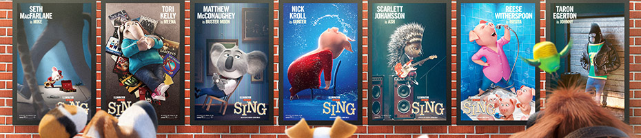 "Movie poster for ""Sing"" featuring all of the main characters"