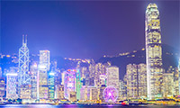 City scape of Hong Kong at night