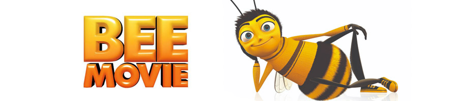 Cartoon bee laying on his side with text overlay Bee Movie