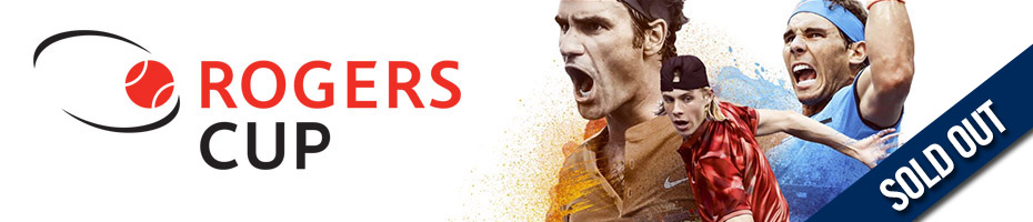 Rogers Cup logo with three male tennis players with text overlay SOLD OUT