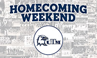 "UTM Athletics Eagles logo with text overlay ""Homecoming Weekend"""