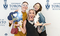 Graduands at a photo booth