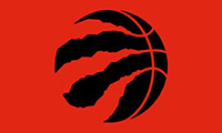 Raptors logo of a black basketball on a red background