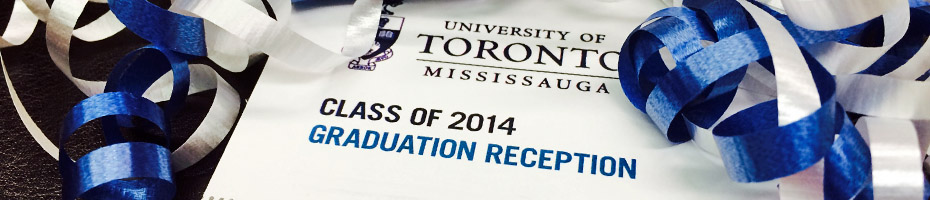 "Blue and white ribbon surrounding the text ""Class of 2014 Graduation Reception"""