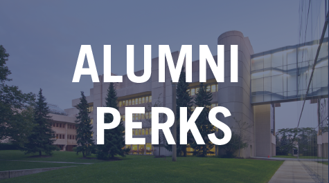Text over Image, Text says Alumni Perks