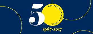 50th logo on blue background
