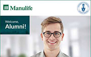"Smiling young man wearing glasses with text overlay ""Manulife"" and ""Welcome, Alumni!"""