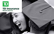 "Two young graduates hugging with text overlay ""TD Insurance Meloche Monnex"""
