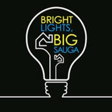 Outline of a light bulb with text overlay Bright Lights, Big Sauga