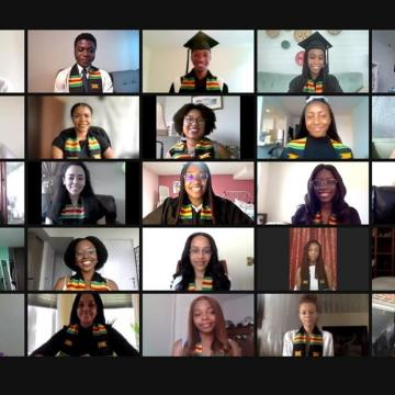 Screenshot of 25 graduates wearing their stoles in the 2021 online Black Grad celebration