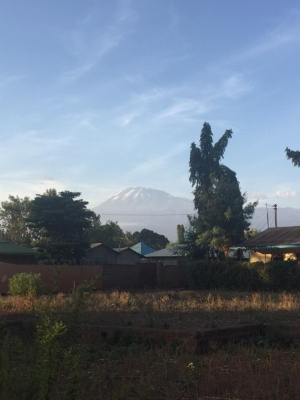 Mount Kilimanjaro in the distance as viewed from Moshi.