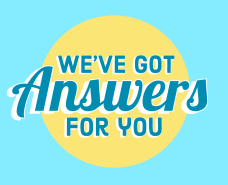 yellow circle on light blue background with we've got answers for you