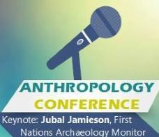 microphone with Anthropology Conference text on green background