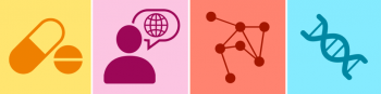 icons of pills, person with globe in speech bubble, network of dots, DNA strand