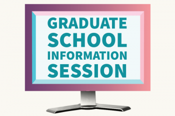 computer screen with Graduate School Information Session