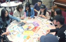 students playing boardgames