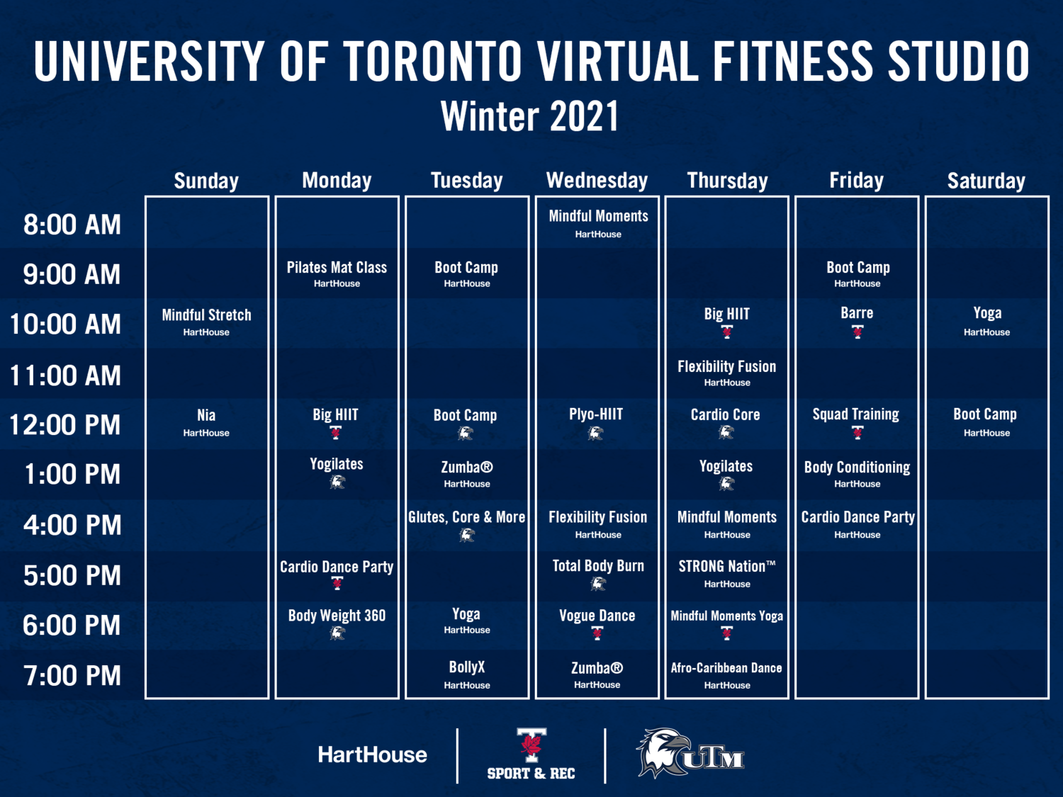 UofT Virtual Fitness Schedule