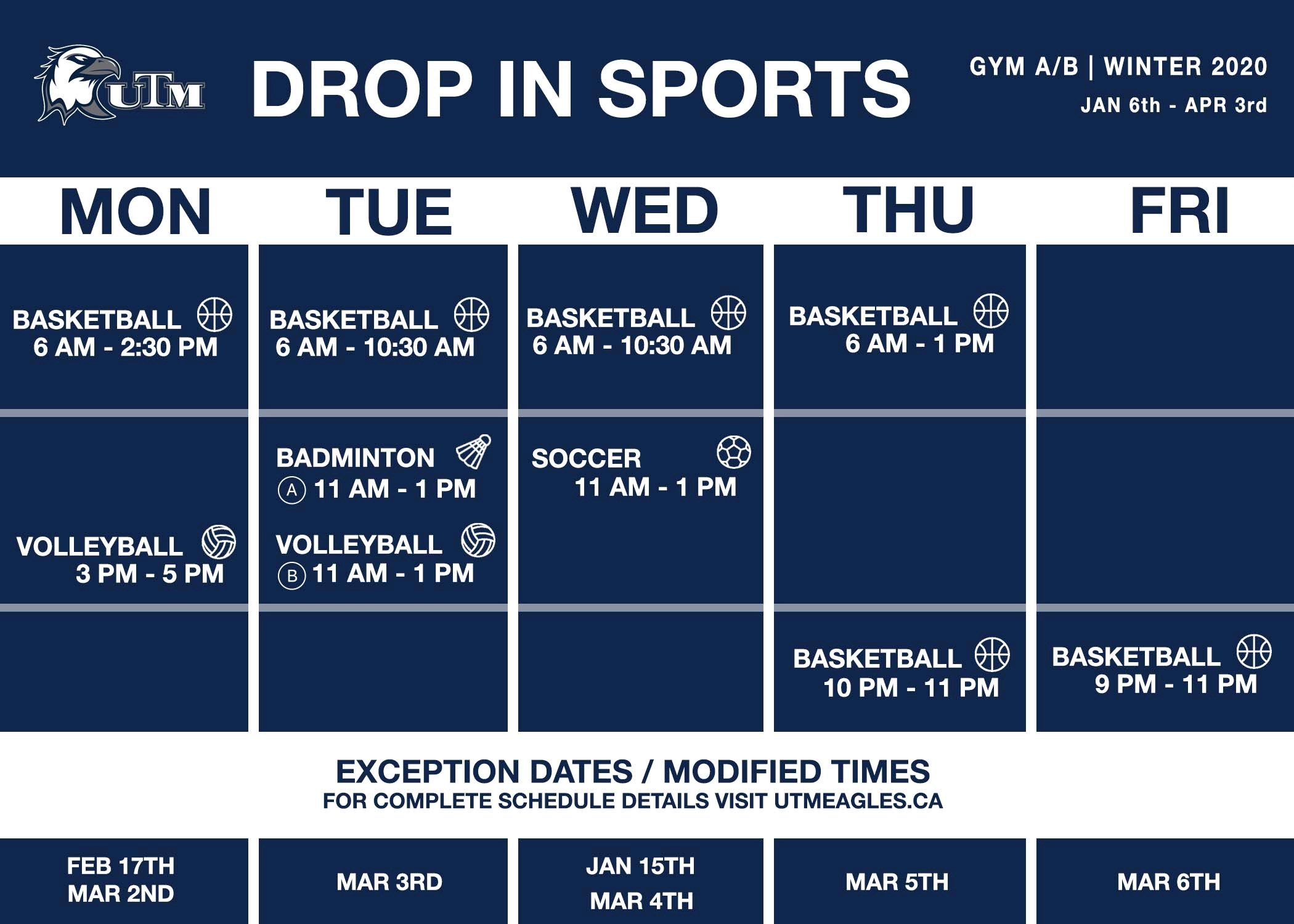 Drop-in schedule for Gym AB