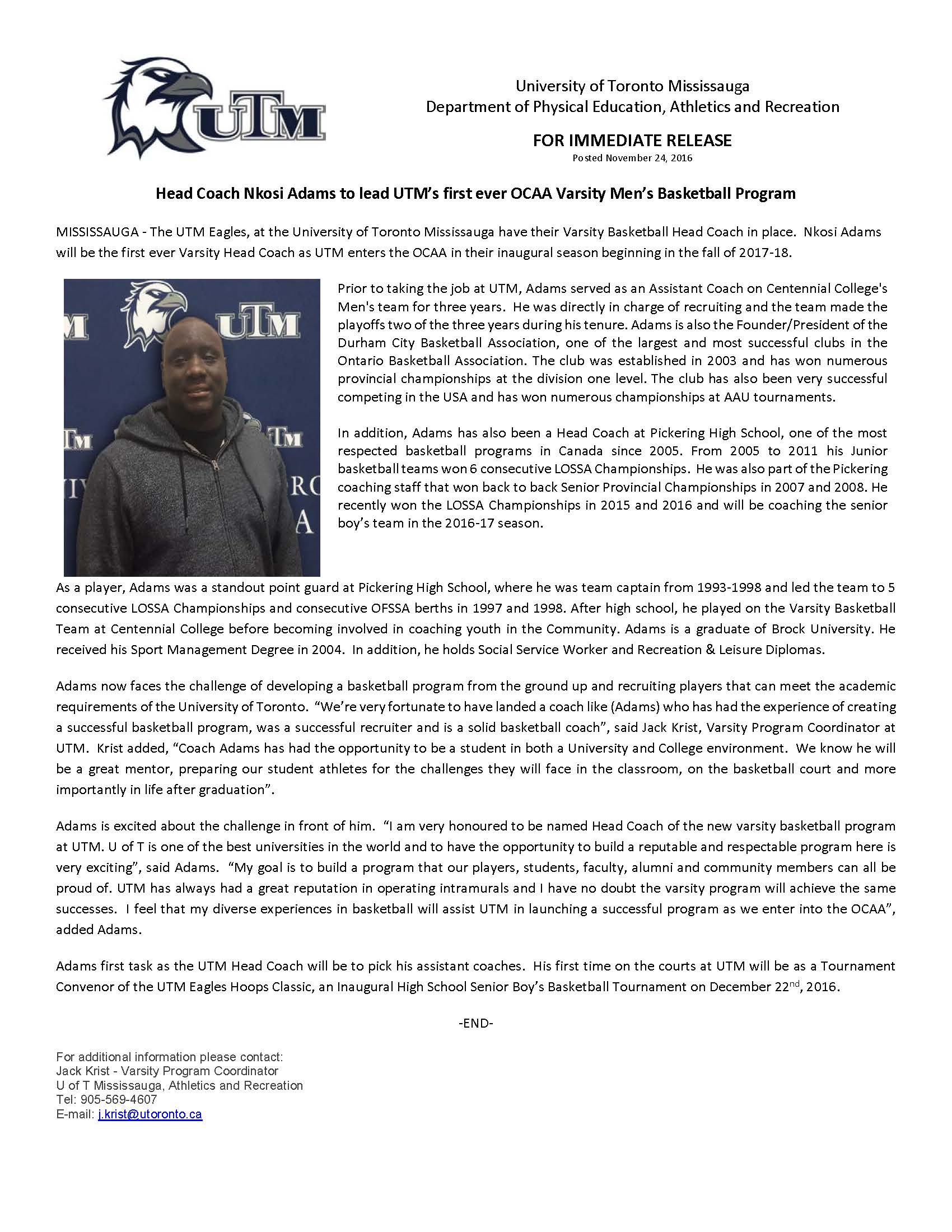Men's OCAA Varsity Basketball Head Coach Press Release