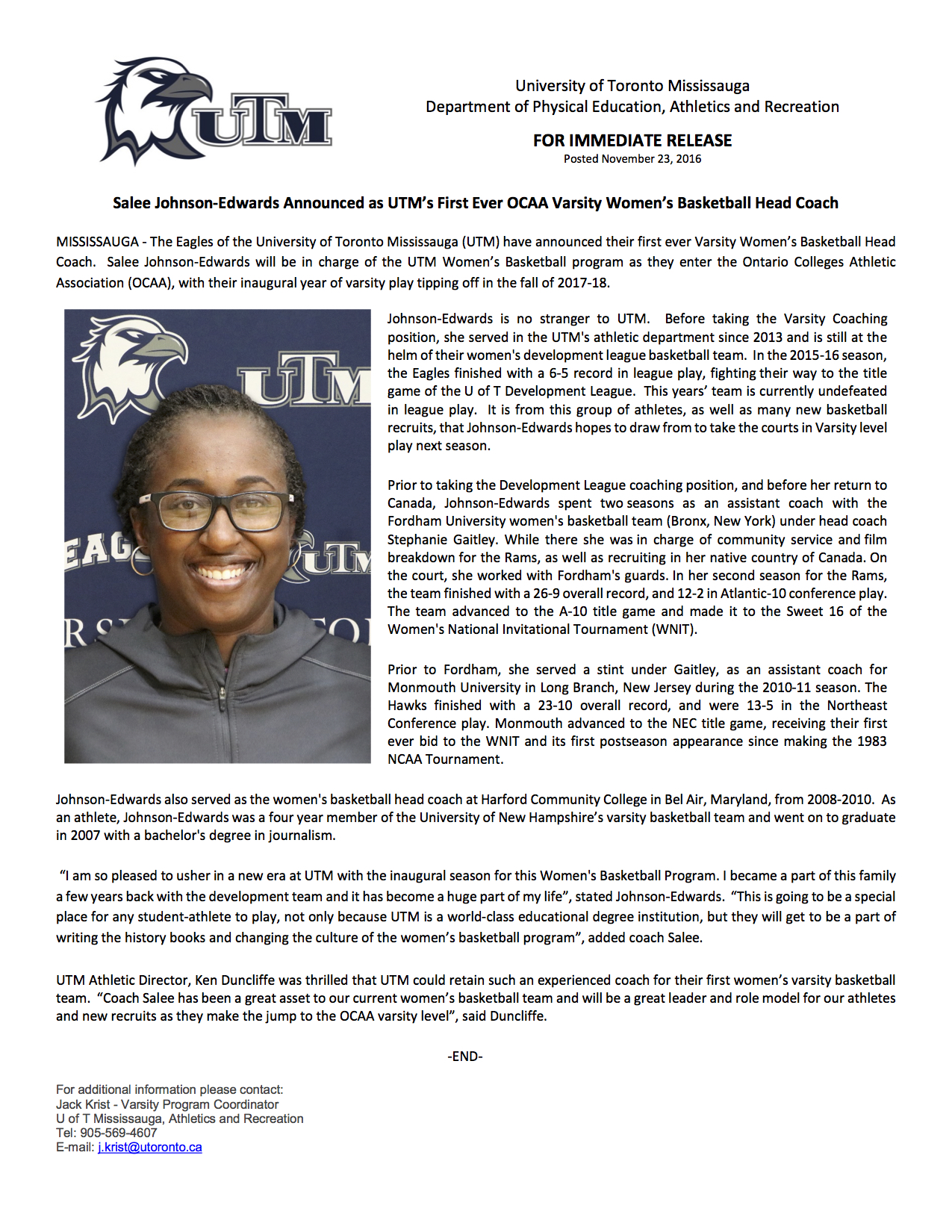 UTM Women's Basketball Press Release