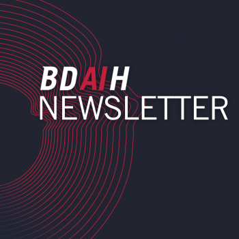 BDAIH Newsletter Text on abstract background