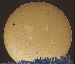Last Venus transit in front of the solar disk imaged in H alpha light using a Lunt solar telescope in Toronto, Canada