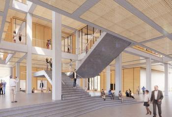 A rendering of the inside of the proposed ACT building, part of the 2020 Campus Master Plan.