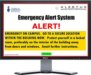 Mock image of desktop computer with Alertus pop-up message