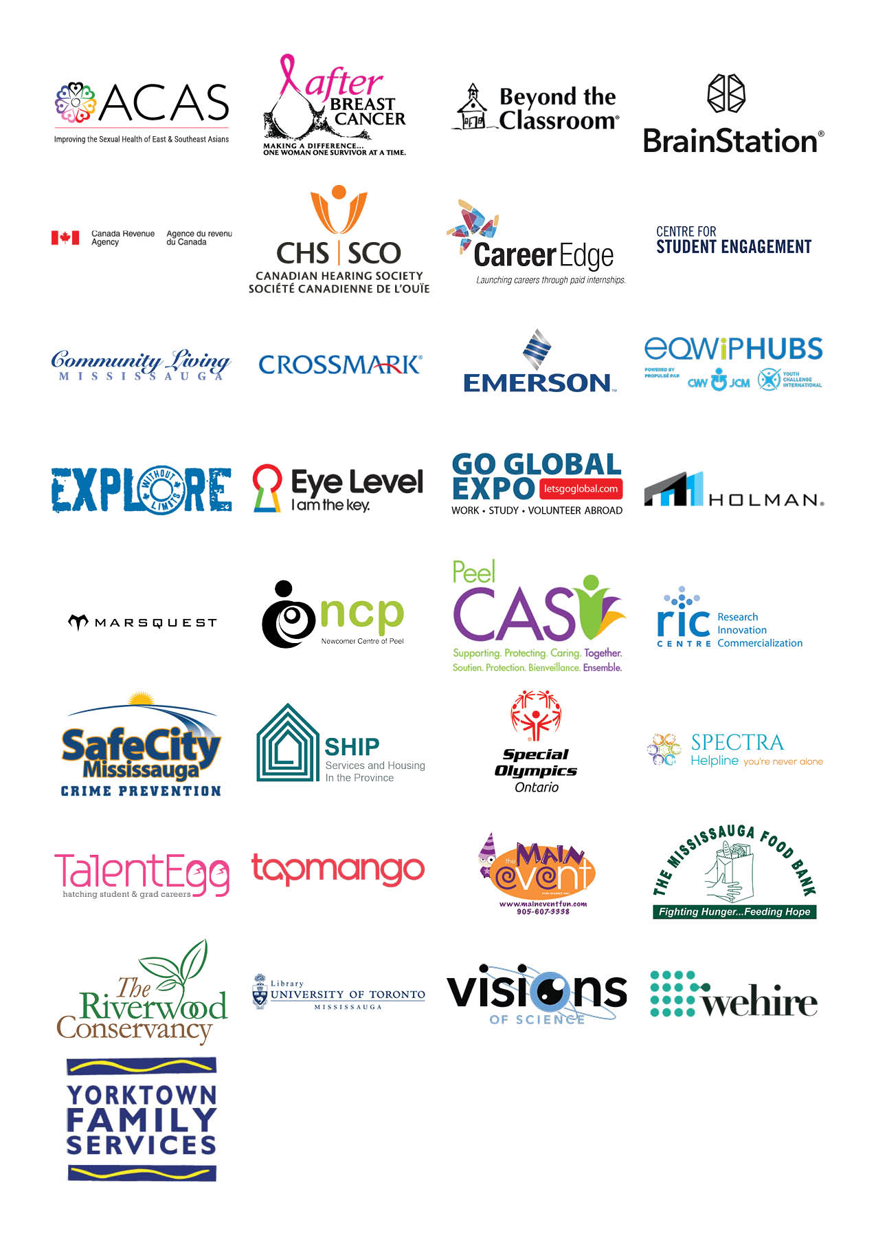 Logos of all the companies attending the 2018 Get Experience Fair