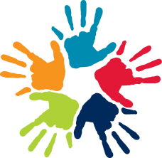 five painted hand prints, light blue, red, dark blue, lime green, orange, in a circular shape, fingers pointing outwards