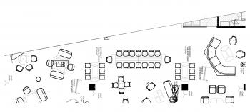 black and white floor plan with furniture in MN3230