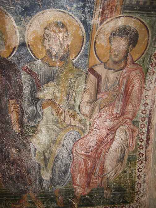 Image description.  Seated apostles, detail of wall painting from San Pietro, Otranto.  Note that the blue of the background is lapis lazuli, an expensive pigment that indicates the wealth and status of the patron of the paintings.