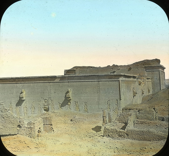 Lantern slide image of an egyptian temple at Denderah