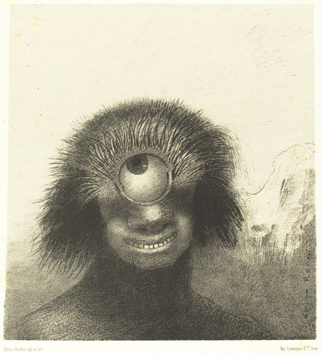Odilon Redon drawing of a smiling cyclops