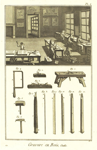 18th-century engraving showing engravers at work