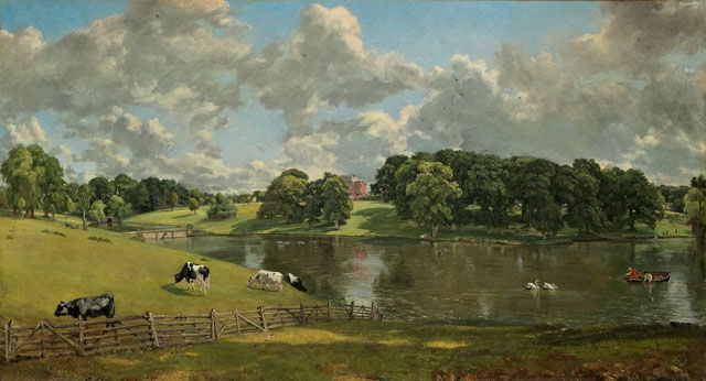 John Constable painting of cows in a pastoral setting