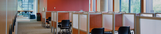 Photograph of study spaces in the UTM library