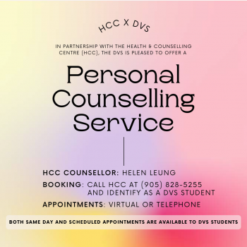 DVS & HCC Personal Counselling Service poster