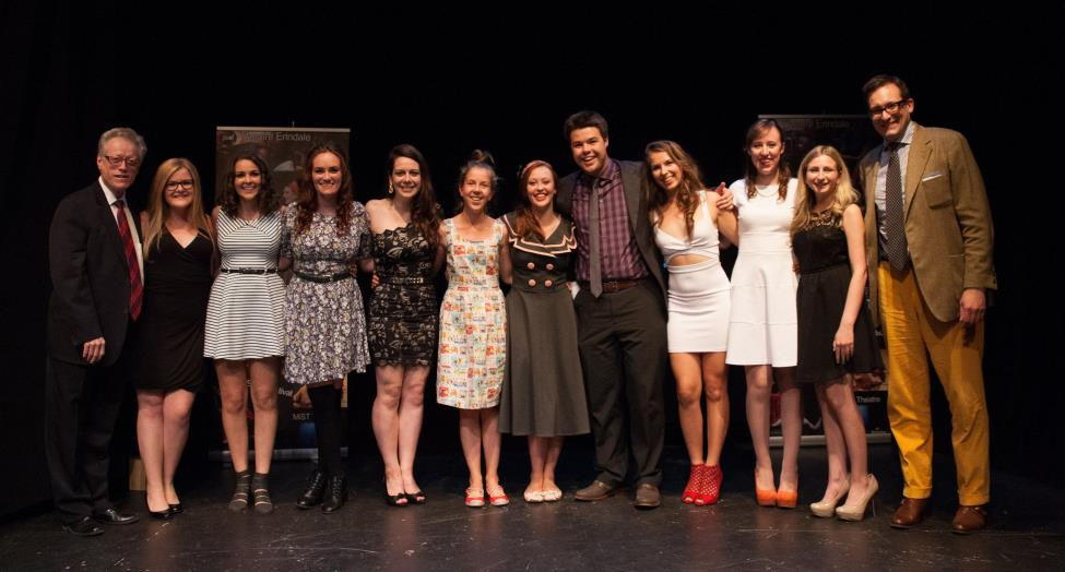 Fernie Scholarship Winners with Artistic Director  Patrick Young (L) and  Chair of English & Drama Holger Syme (R).