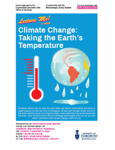 November 2019 Lecture Me! A series, visual with a melting planet earth and thermometer.