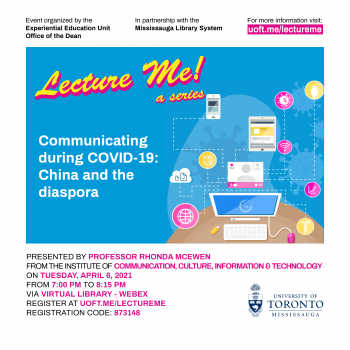 April 2021 Lecture Me! a series visual with computer, mobile phone, COVID-19, medicine, WIFI icons
