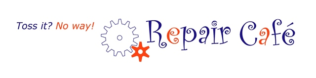 "Logo showing gears with the text ""Repair Cafe - Toss it?  No way!"""