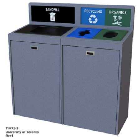 A photograph of the new 3-compartment waste bins.