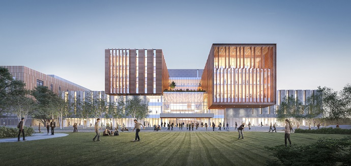 Artist's rendering of North Building Phase B, as seen from the football field