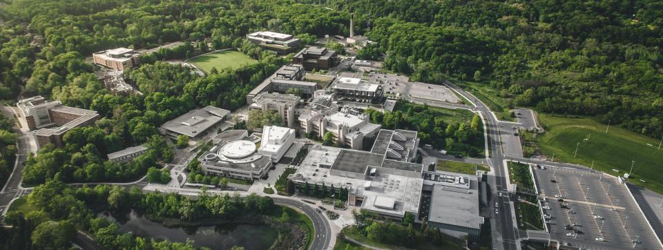 aerial view of UTM campus in summer