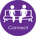 Connect icon depicting two people sitting together on a bench.